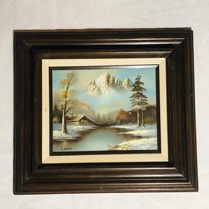 Winter scene paniting & wood frame signed canvas
